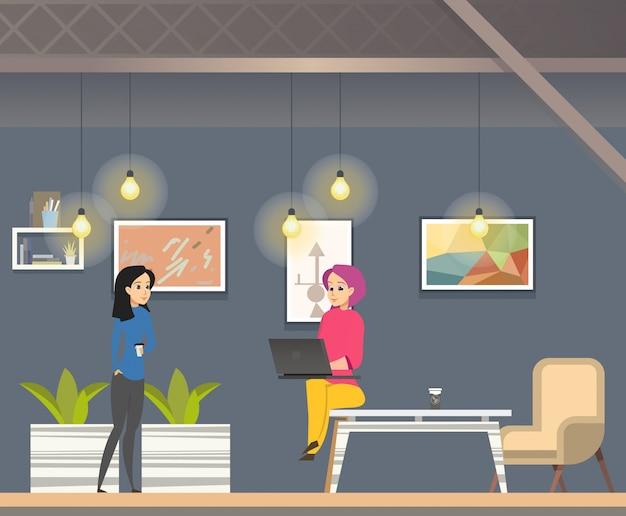 Coworking no escritório moderno do espaço aberto informal. Vetor Premium