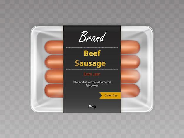 Cozido com fumo lento em salsichas de carne bovina natural em recipiente selado Vetor grátis
