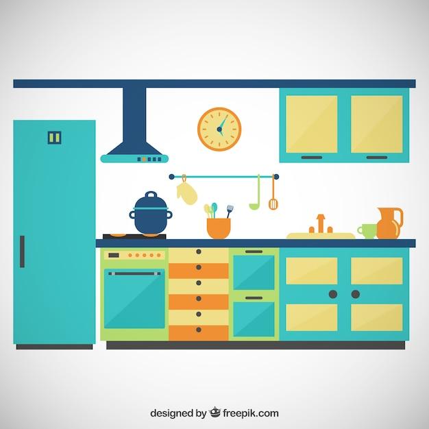 Cozinha colorido baixar vetores premium for Programas de dibujo de cocinas gratis