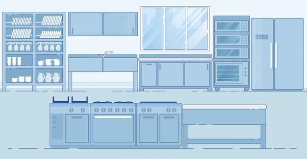 Cozinha comercial com várias áreas diferentes Vetor Premium