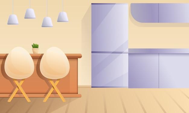 Cozinha dos desenhos animados com um bar e cadeiras, ilustração vetorial Vetor Premium