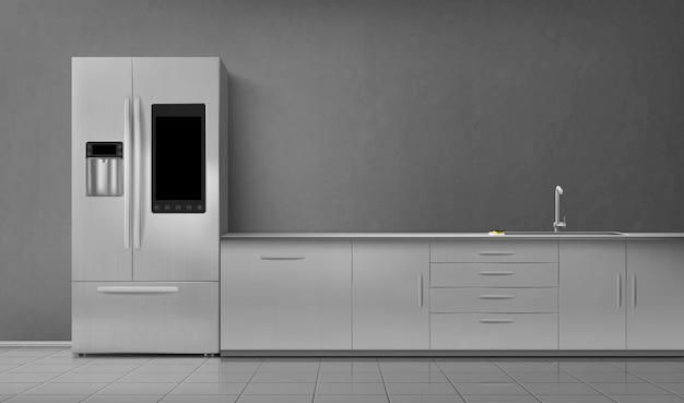Cozinha interior inteligente frigorífico e lavatório na mesa Vetor grátis