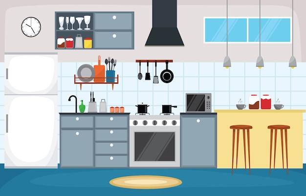 Cozinha, interior, mobília, cutelaria, talheres, cozinhando, apartamento Vetor Premium