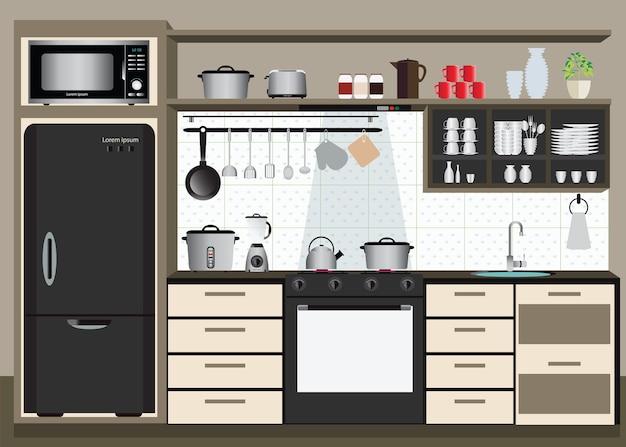 Cozinha interior Vetor Premium