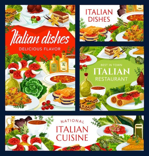 Cozinha italiana com sopa de turin, sopa de tomate picante, omelete de queijo vegetal e macarrão com cogumelos Vetor Premium