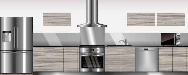 Cozinha moderna de vetor Vetor Premium