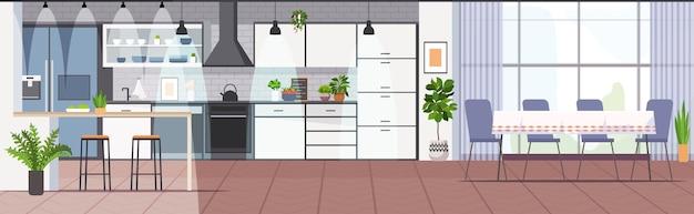 Cozinha moderna interior vazia, sem sala de pessoas Vetor Premium