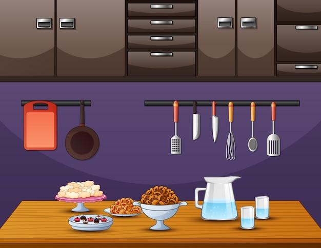 Cozinha na mesa de jantar na cozinha Vetor Premium