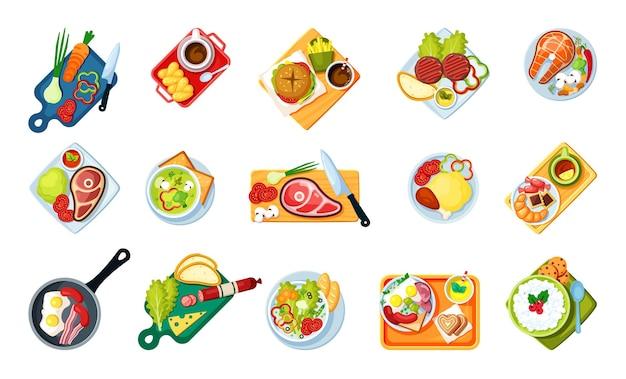 Cozinhar alimentos com conjunto de vista superior de pratos. cardápios saborosos fast food Vetor Premium