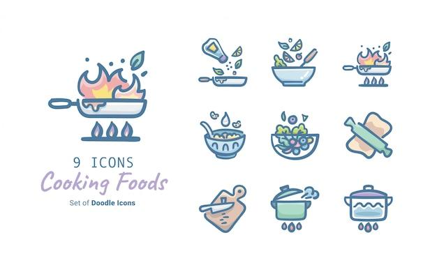 Cozinhar alimentos doodle ícone coleção Vetor Premium