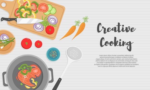 Cozinhar alimentos saudáveis na cozinha. refeição útil na mesa de madeira. alimentação saudável, legumes. ilustração da vista superior do utensílio de cozinha, tábua com faca, pratos, pratos e alimentos diferentes. Vetor Premium