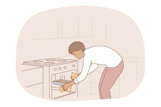 Cozinhar, assar, conceito de receita. jovem sorridente personagem de desenho animado colocando torta ou bolo caseiro Vetor Premium