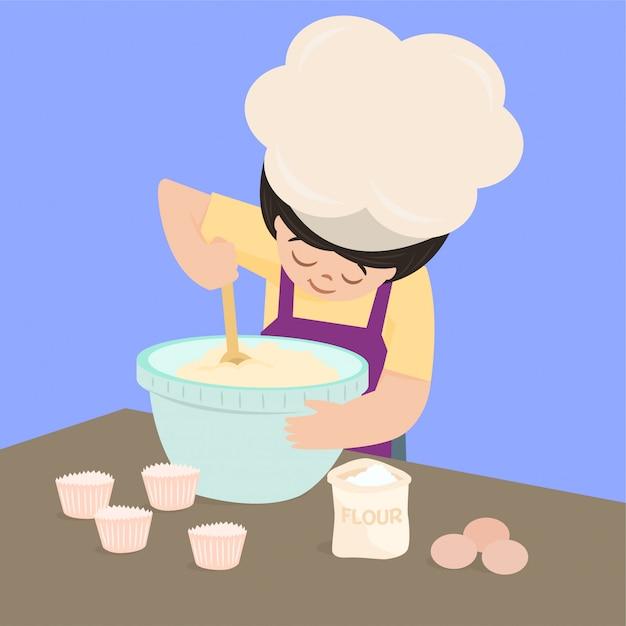 Cozinhar, assar cupcake Vetor Premium
