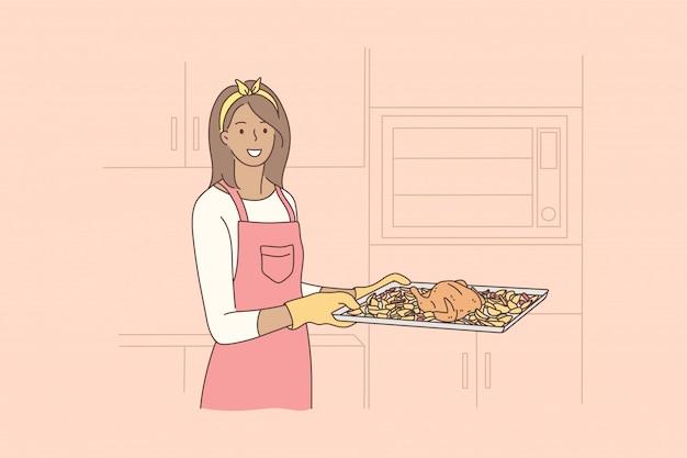 Cozinhar, comida, passatempo, conceito de trabalho doméstico Vetor Premium