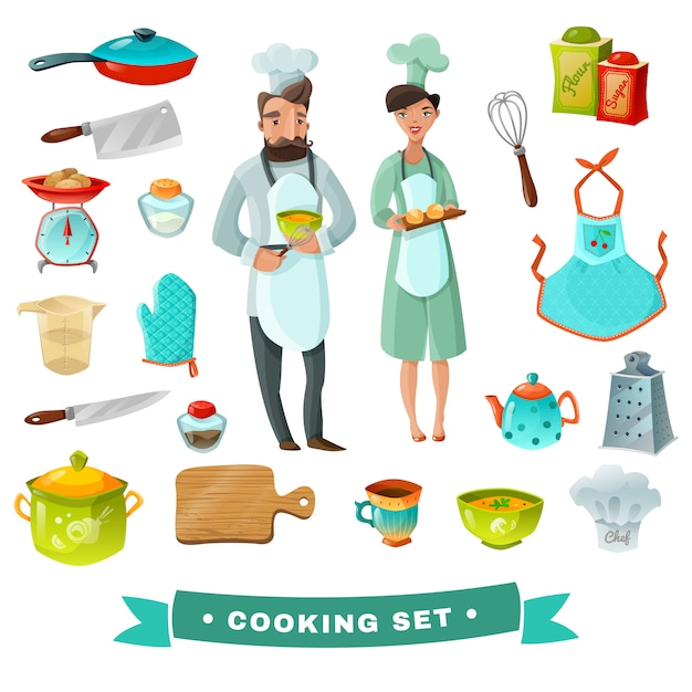 Cozinhar conjunto de desenhos animados Vetor grátis