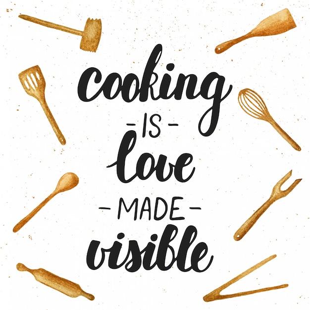 Cozinhar é amor feito letras visíveis. Vetor Premium