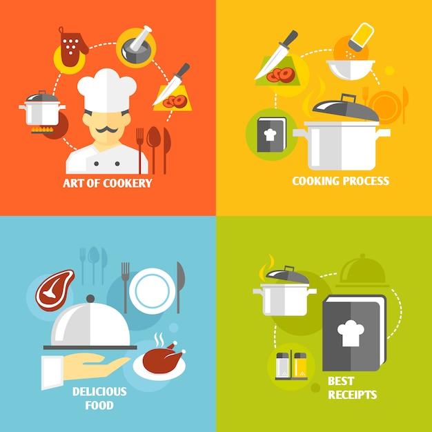 Cozinhar elementos planos Vetor grátis