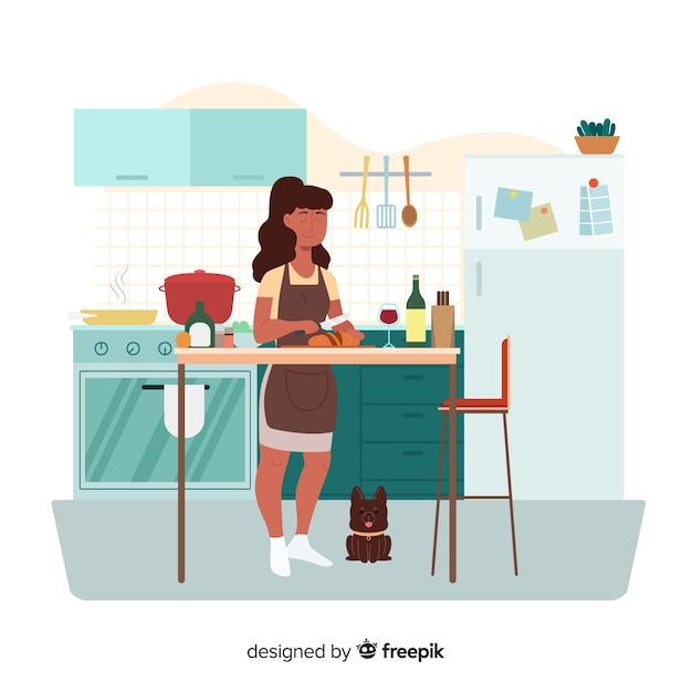 Cozinhar mulher Vetor grátis