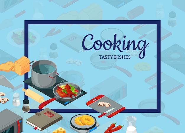 Cozinhar objetos isométricos de comida Vetor Premium