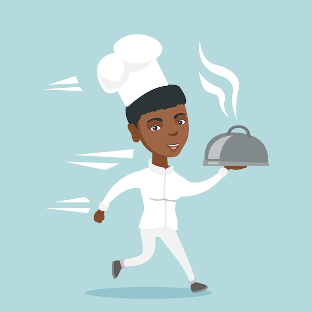 Cozinheiro chef afro-americano jovem correndo com prato Vetor Premium