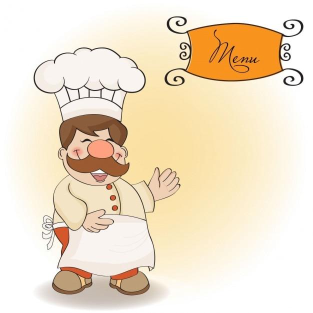 Cozinheiro chefe de sorriso e menu Vetor grátis