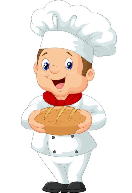 Cozinheiro chefe dos desenhos animados segurando um pedaço de pão Vetor Premium