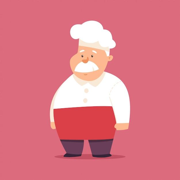 Cozinheiro chefe engraçado no chapéu e no personagem de banda desenhada uniforme. cozinhe a ilustração isolada no fundo. Vetor Premium