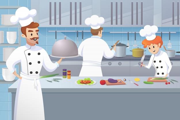 Cozinheiro chefe, segurando, bandeja, em, seu, mão, trabalhadores cozinha Vetor Premium