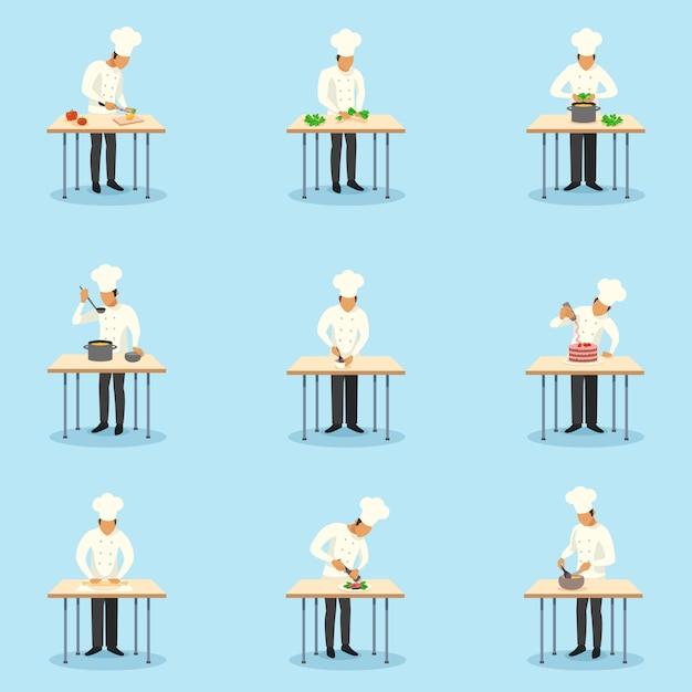 Cozinheiro conjunto de caracteres profissão Vetor grátis