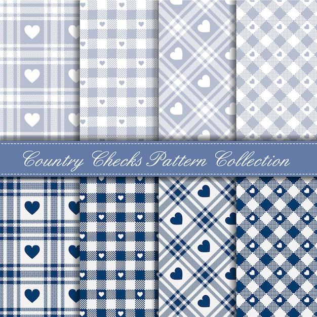 Cozy país guingão coração padrão coleção azul e gelo Vetor Premium