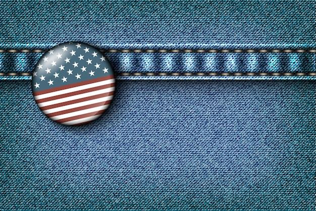 Crachá com a bandeira americana na textura de jeans Vetor Premium