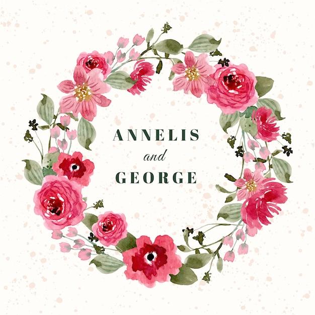 Crachá de casamento com coroa de flores em aquarela floral rosa vermelha Vetor Premium