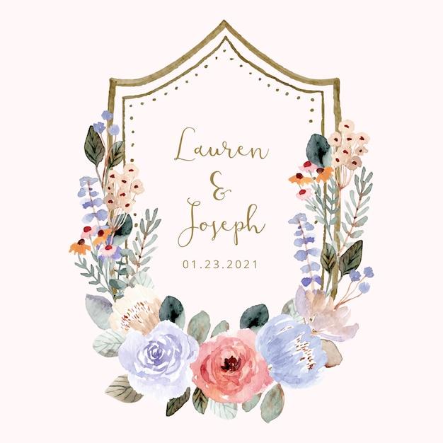 Crachá de casamento com moldura aquarela floral suave Vetor Premium