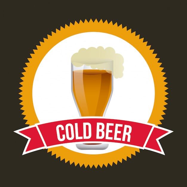 Crachá de cerveja sobre preto Vetor grátis