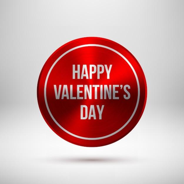 Crachá de círculo de tecnologia abstrata vermelha, modelo de botão com texto de dia dos namorados Vetor Premium