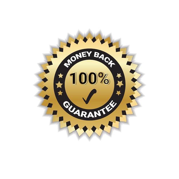 Crachá de ouro dinheiro de volta com garantia de 100 por cento isolado Vetor Premium