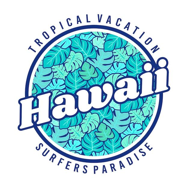 Crachá de paraíso de surfistas de havaí Vetor Premium