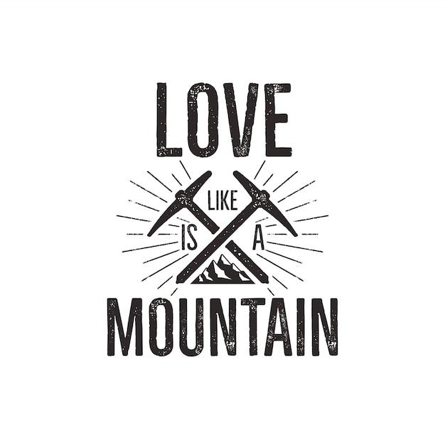 Crachá do curso com montanha, engrenagem da escalada e citações - ame a montanha. Vetor Premium