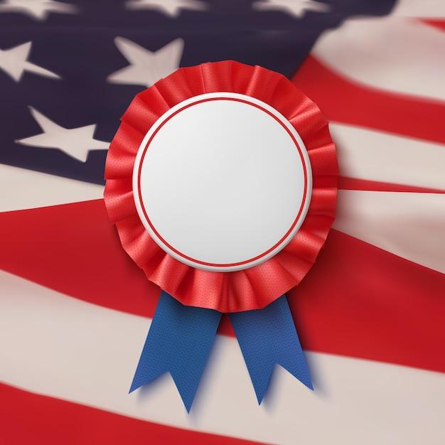 Crachá em branco. rótulo realista, patriótico, azul e vermelho com fita, bacground bandeira americana. modelo de cartaz, folheto ou cartão. Vetor Premium