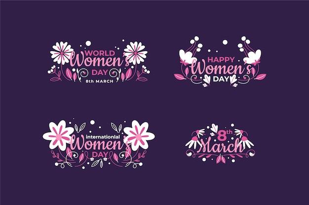 Crachás do dia internacional da mulher Vetor grátis