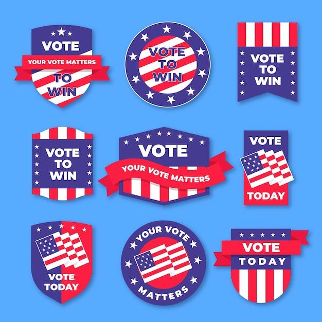 Crachás e adesivos de votação Vetor grátis