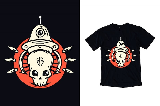 Crânio alienígena com ilustração de ovni para camiseta Vetor Premium