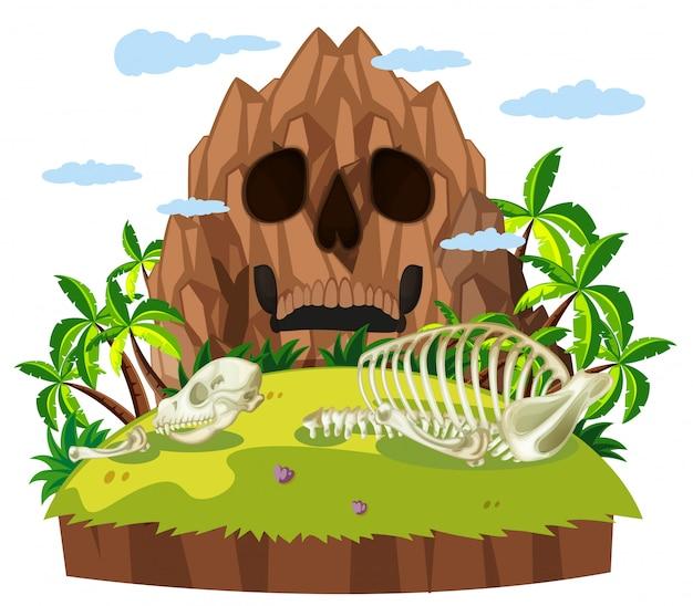 Crânio animal na ilha Vetor grátis