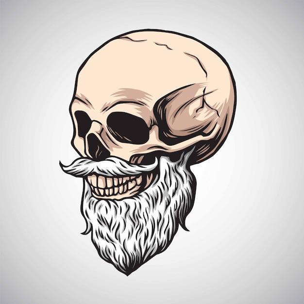 Crânio barbudo com vetor de bigode Vetor Premium
