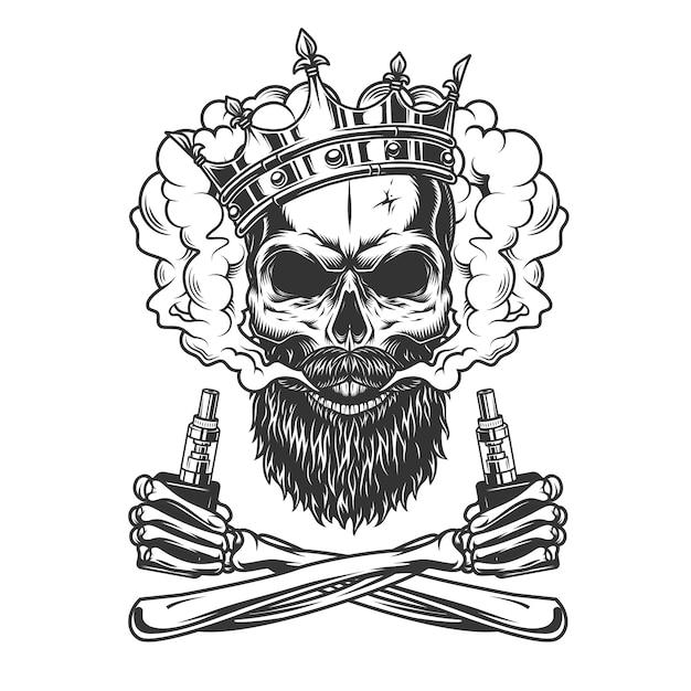 Crânio barbudo e bigode usando coroa Vetor grátis