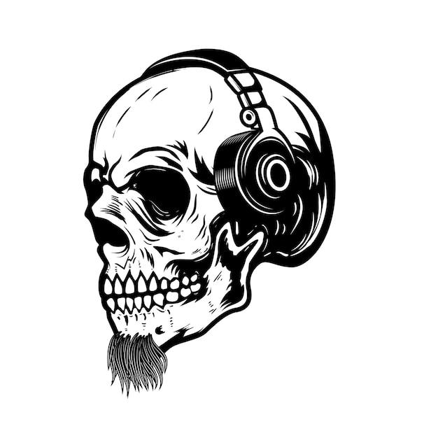 Crânio barbudo em fones de ouvido. elemento de sinal, crachá, etiqueta. imagem Vetor Premium