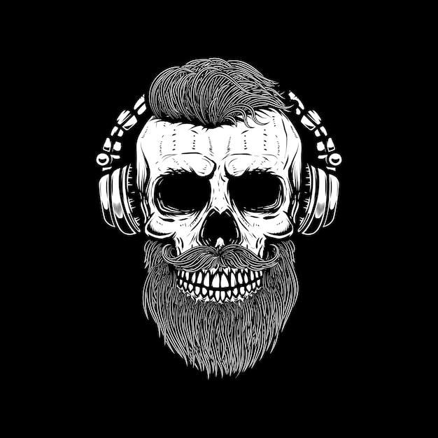 Crânio barbudo em fones de ouvido. elemento para cartaz, cartão, emblema, banner de sinal. imagem Vetor Premium