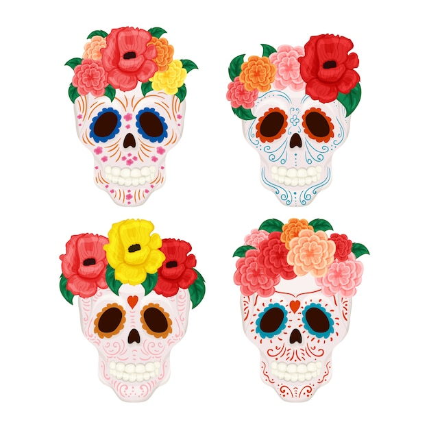 Crânio bonito do homem e da mulher com o chapéu floral da grinalda e do bigode e do sombrero Vetor Premium