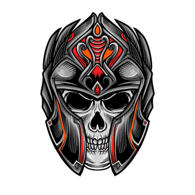 Crânio cavaleiro guerreiro cabeça vector Vetor Premium