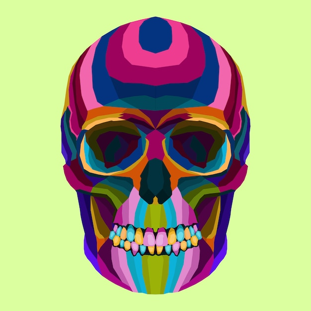 Crânio colorido arte criativa pop art estilo vector Vetor Premium